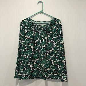 Talbots Green and Black Floral Long Sleeve Shirt